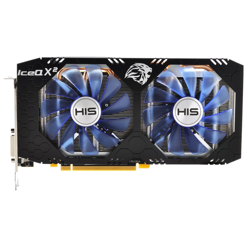 A large main feature product image of HIS Radeon RX580 IceQ X2 OC 8GB GDDR5