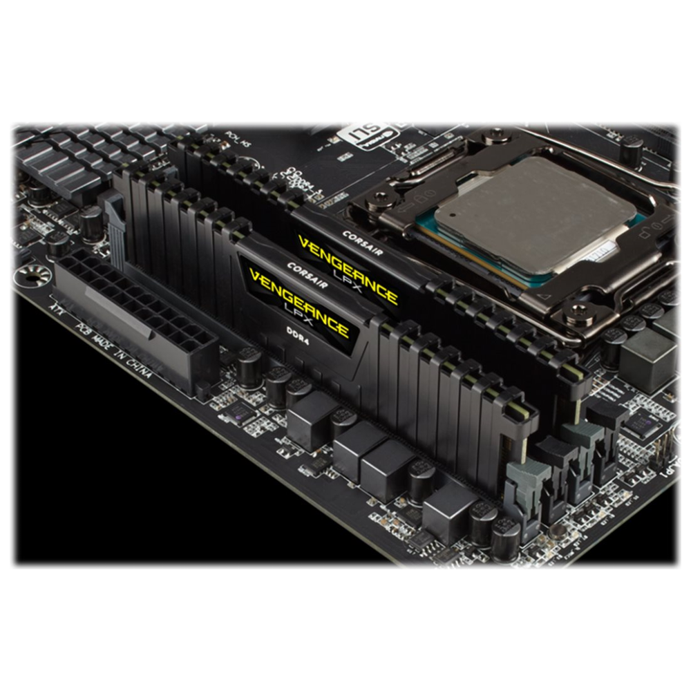 A large main feature product image of Corsair 32GB Kit (2x16GB) DDR4 Vengeance LPX Black C16 3200Mhz