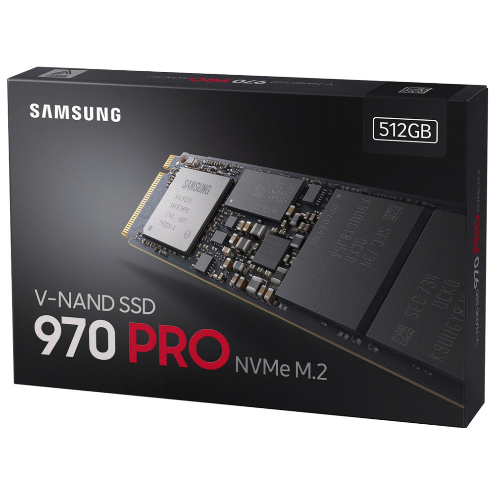 A large main feature product image of Samsung 970 Pro Series 512GB M.2 NVMe SSD