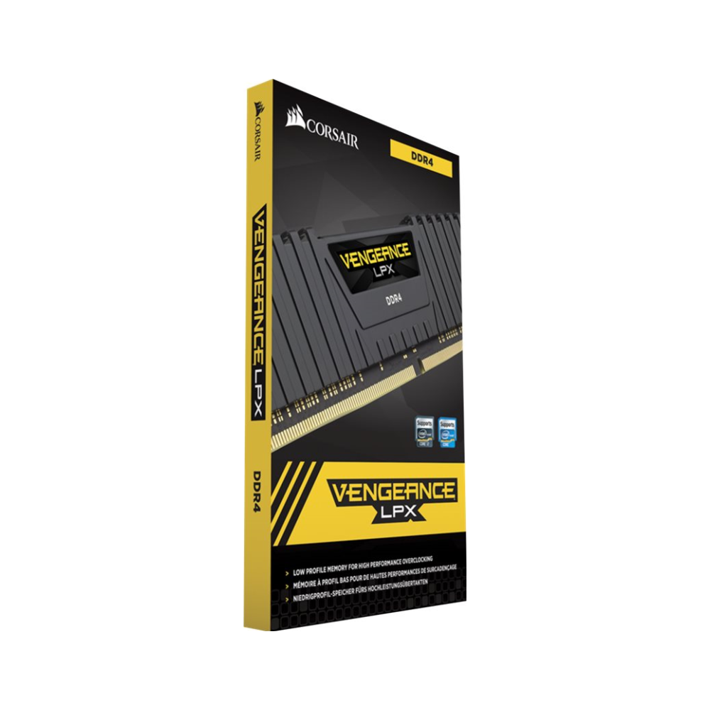 A large main feature product image of Corsair 16GB Kit (2x8GB) DDR4 Vengeance LPX Black C16 3200Mhz