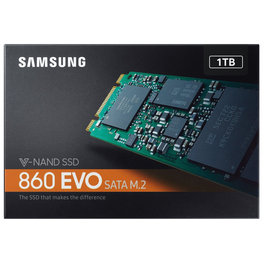 A large main feature product image of Samsung 860 EVO Series 1TB M.2 SSD