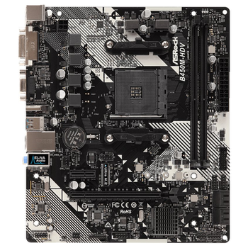 Product image of ASRock B450M-HDV R4.0 AM4 mATX Desktop Motherboard - Click for product page of ASRock B450M-HDV R4.0 AM4 mATX Desktop Motherboard