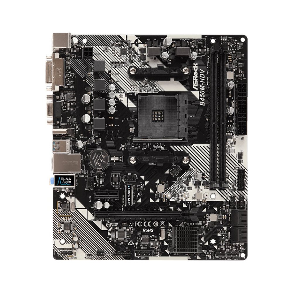 A large main feature product image of ASRock B450M-HDV R4.0 AM4 mATX Desktop Motherboard