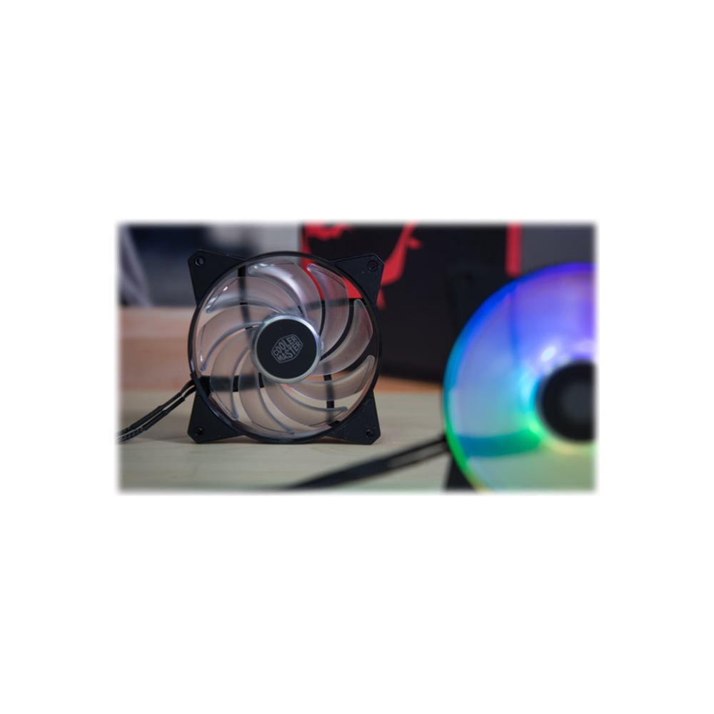A large main feature product image of Cooler Master MasterFan MF120R ARGB 120mm Fan