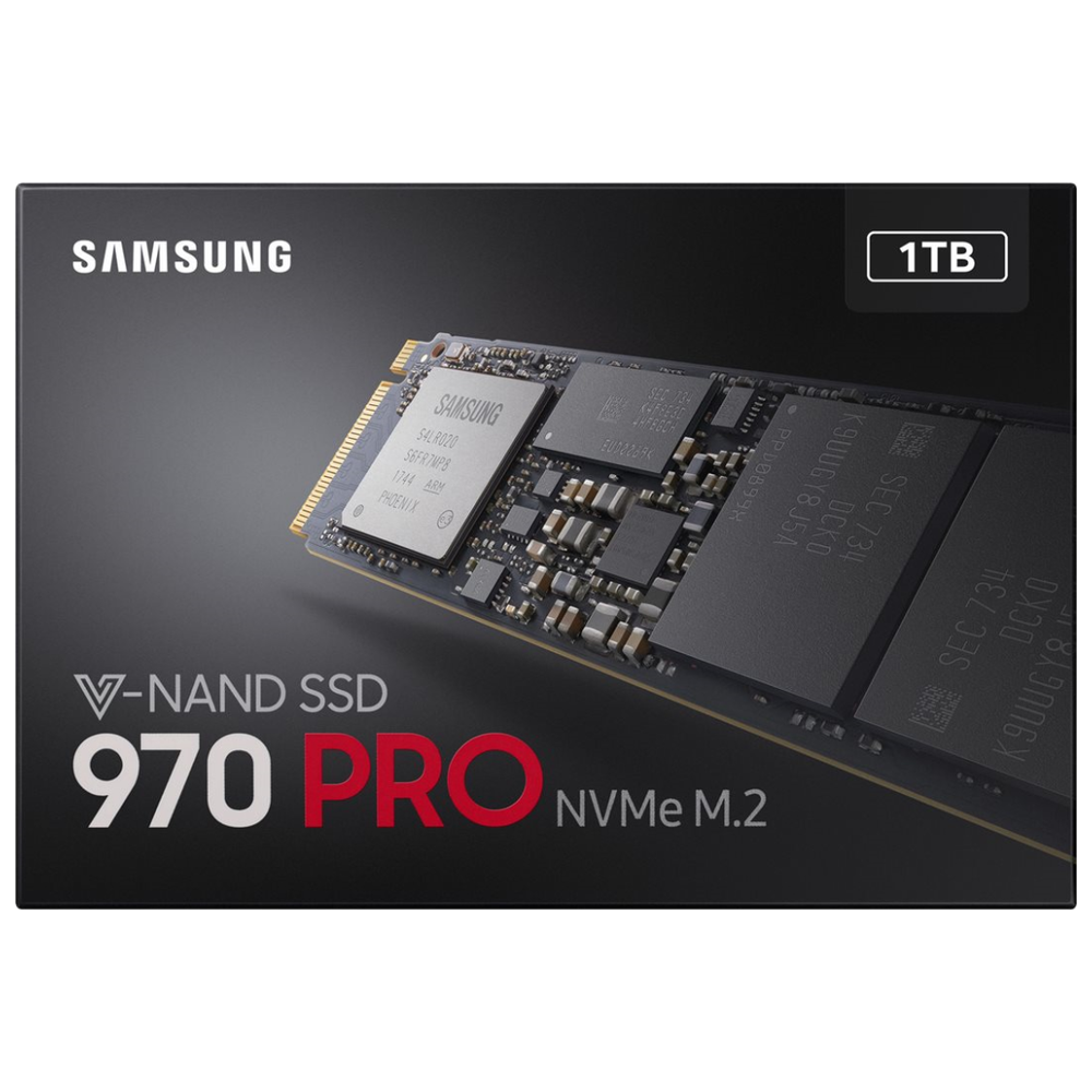 A large main feature product image of Samsung 970 Pro Series 1TB M.2 NVMe SSD