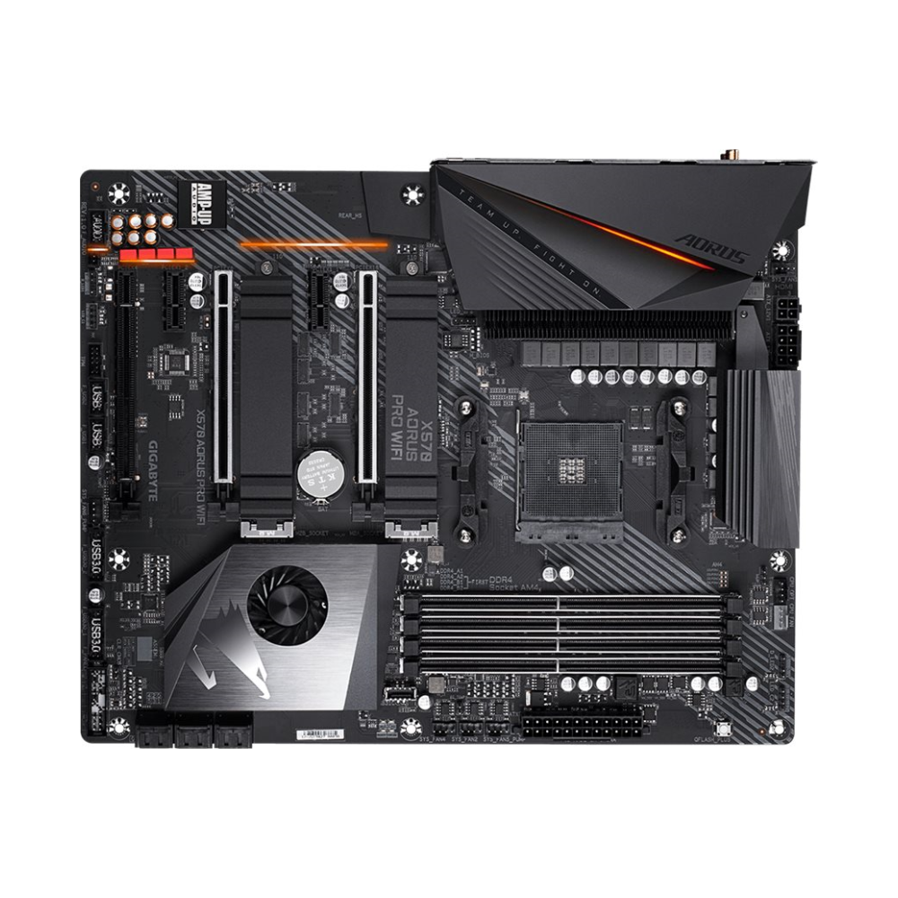 A large main feature product image of Gigabyte X570 Aorus Pro WiFi AM4 ATX Desktop Motherboard