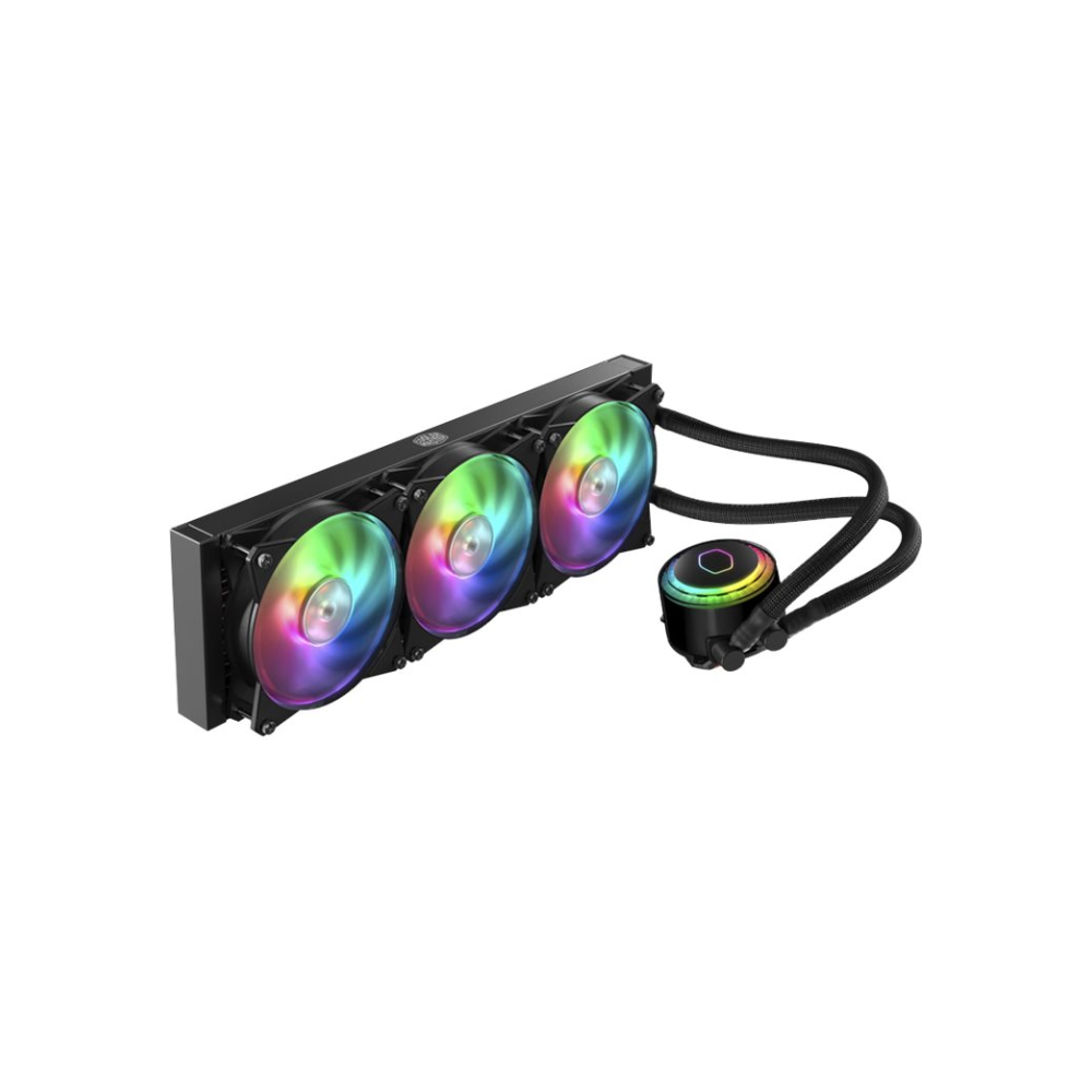 A large main feature product image of Cooler Master MasterLiquid ML360R Addressable RGB AIO Liquid Cooler