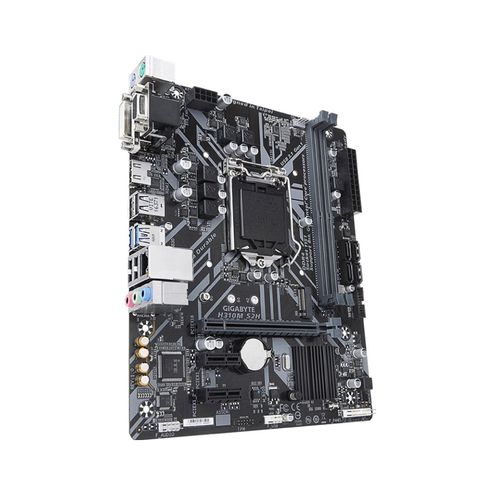 A large main feature product image of Gigabyte H310M S2H LGA1151-CL mATX Desktop Motherboard