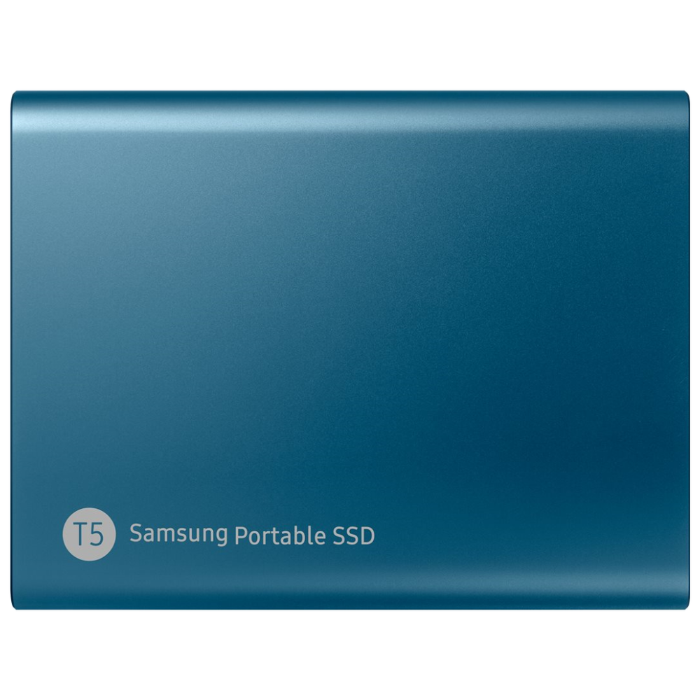A large main feature product image of Samsung T5 500GB USB3.1 Blue Portable SSD