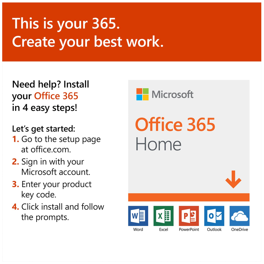 A large main feature product image of Microsoft Office 365 Home 6 Device 1YR Subscription PKC