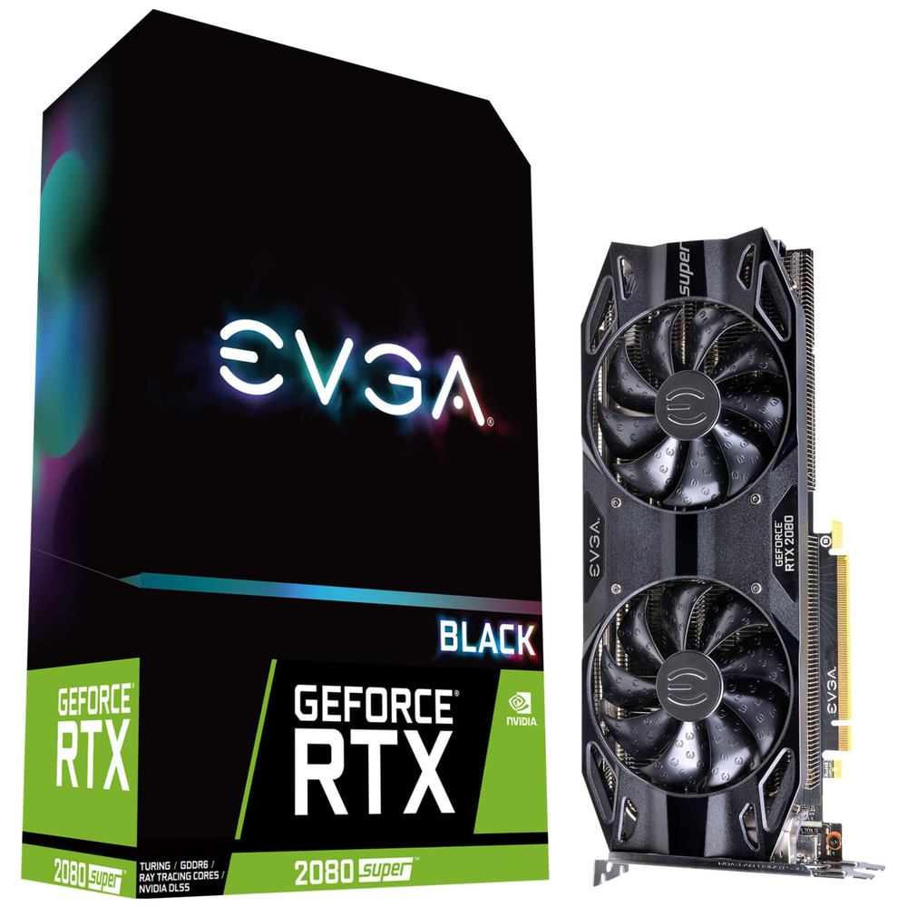 A large main feature product image of eVGA GeForce RTX2080 Super Black Gaming 8GB GDDR6