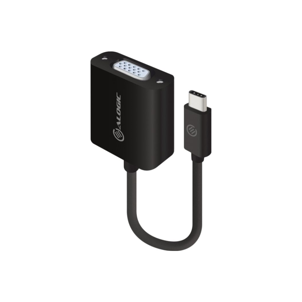 A large main feature product image of ALOGIC 15cm USB-C to VGA Adapter
