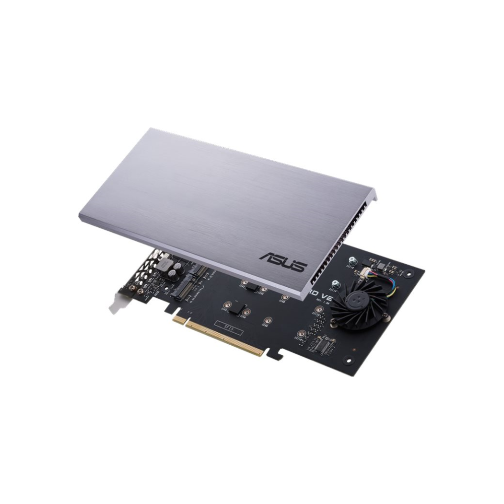 A large main feature product image of ASUS HYPER M.2 x16 V2 PCIe M.2 Expansion Card