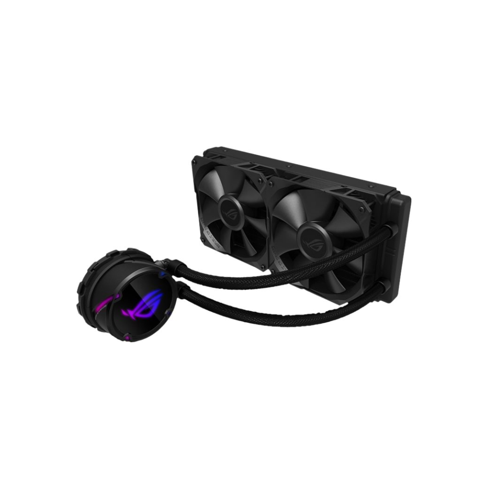 A large main feature product image of ASUS ROG Strix LC 240mm AIO Liquid Cooler