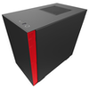 A product image of NZXT H210i Matte Black/Red Smart mITX Case w/ Side Panel Window