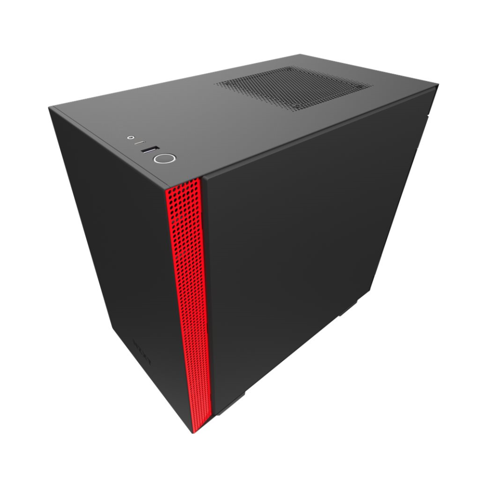 A large main feature product image of NZXT H210i Matte Black/Red Smart mITX Case w/ Side Panel Window