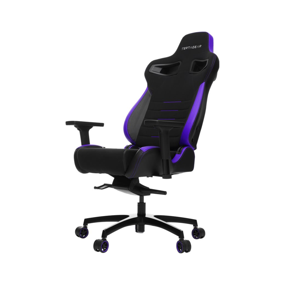 A large main feature product image of Vertagear Racing Series P-Line PL4500 Coffee Fiber with Silver Embroirdery Gaming Chair Black/Purple Edition(LED/RGB Upgradable)