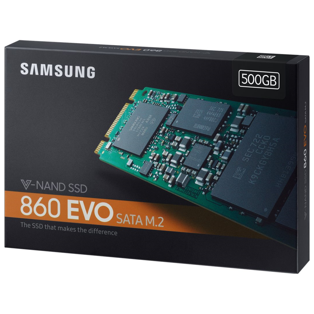 A large main feature product image of Samsung 860 EVO Series 2TB M.2 SSD