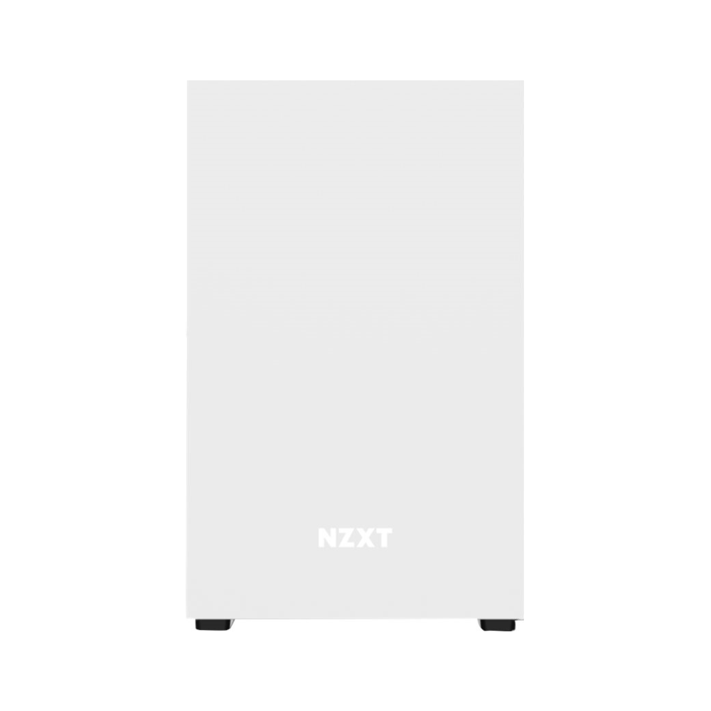 A large main feature product image of NZXT H210 Matte Black/White mITX Case w/ Side Panel Window