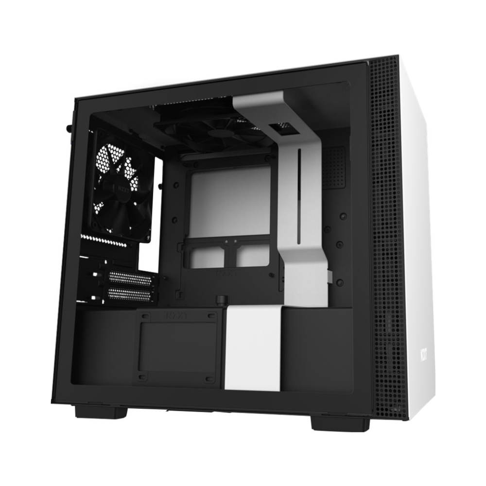A large main feature product image of NZXT H210i Matte White Smart mITX Case w/ Side Panel Window
