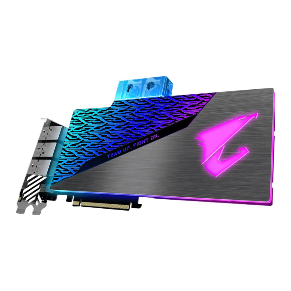 A large main feature product image of Gigabyte GeForce RTX2080 SUPER XTREME WATERFORCE WB 8GB GDDR6