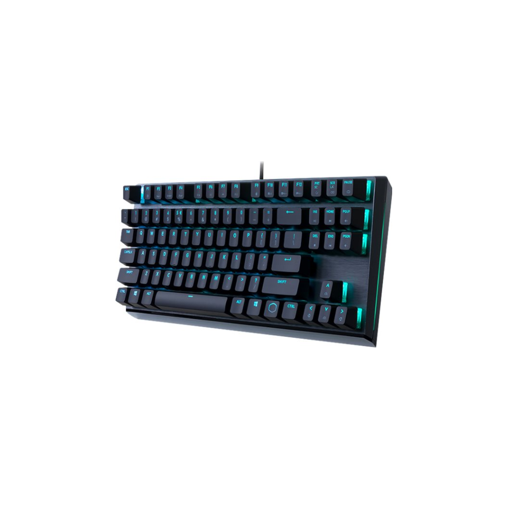 A large main feature product image of Cooler Master MasterKeys MK730 RGB Mechanical TKL Keyboard (MX Blue)