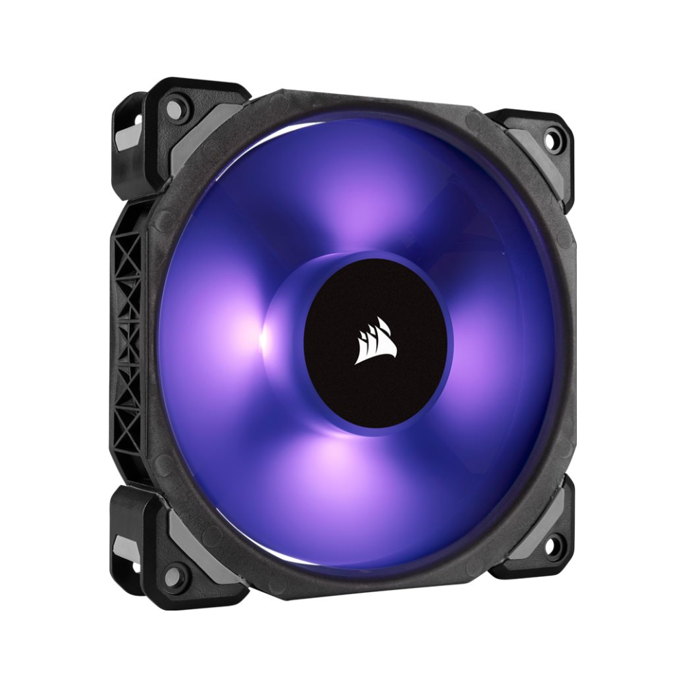 A large main feature product image of Corsair ML120 Pro 120mm Mag-Lev RGB PWM Cooling Fan Triple Pack w/Lighting Node Pro