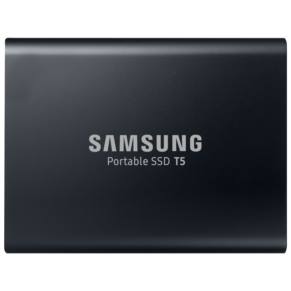 A large main feature product image of Samsung T5 2TB USB3.1 Black Portable SSD