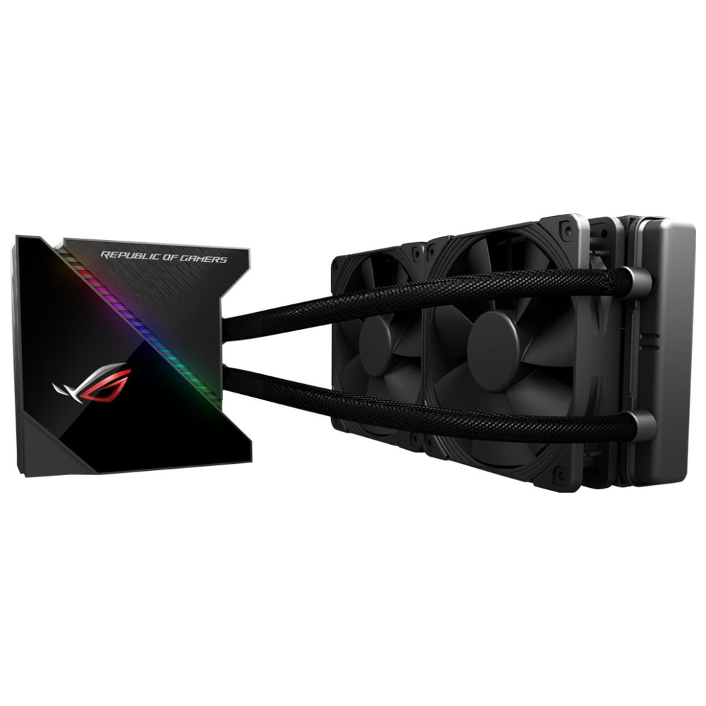 A large main feature product image of ASUS ROG RYUJIN 240 RGB AIO Liquid Cooler