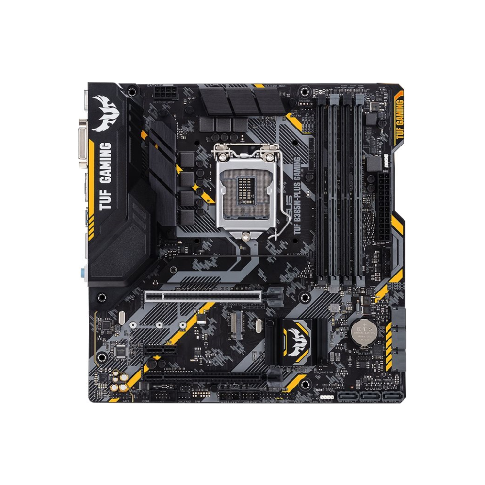 A large main feature product image of ASUS TUF B365M-PLUS Gaming LGA1151-CL mATX Desktop Motherboard