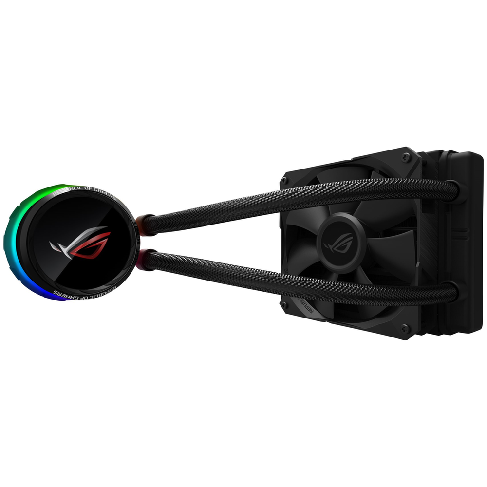 A large main feature product image of ASUS ROG RYUO 120 RGB AIO Liquid Cooler