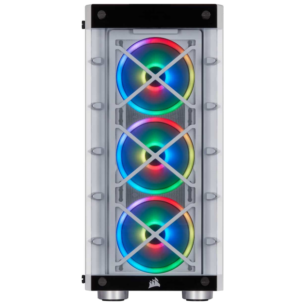 A large main feature product image of Corsair iCue 465X RGB Smart White Mid Tower Case
