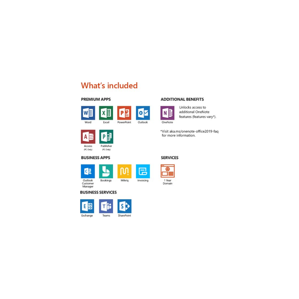 A large main feature product image of Microsoft Office 365 Business Premium 1YR Subscription PKC
