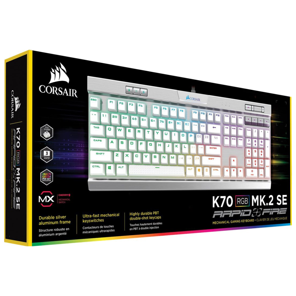 A large main feature product image of Corsair Gaming K70 RGB MK.2 SE Mechanical Keyboard (MX Speed Switch)
