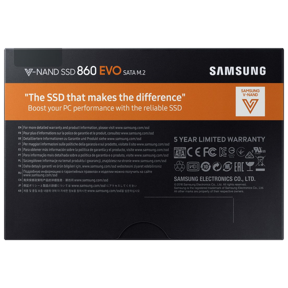 A large main feature product image of Samsung 860 EVO Series 250GB M.2 SSD
