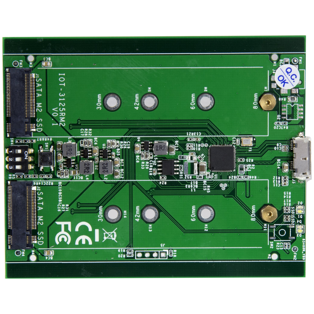 A large main feature product image of Startech Dual M.2 SATA Enclosure - RAID - USB 3.1 Gen 2 USB C / USB A