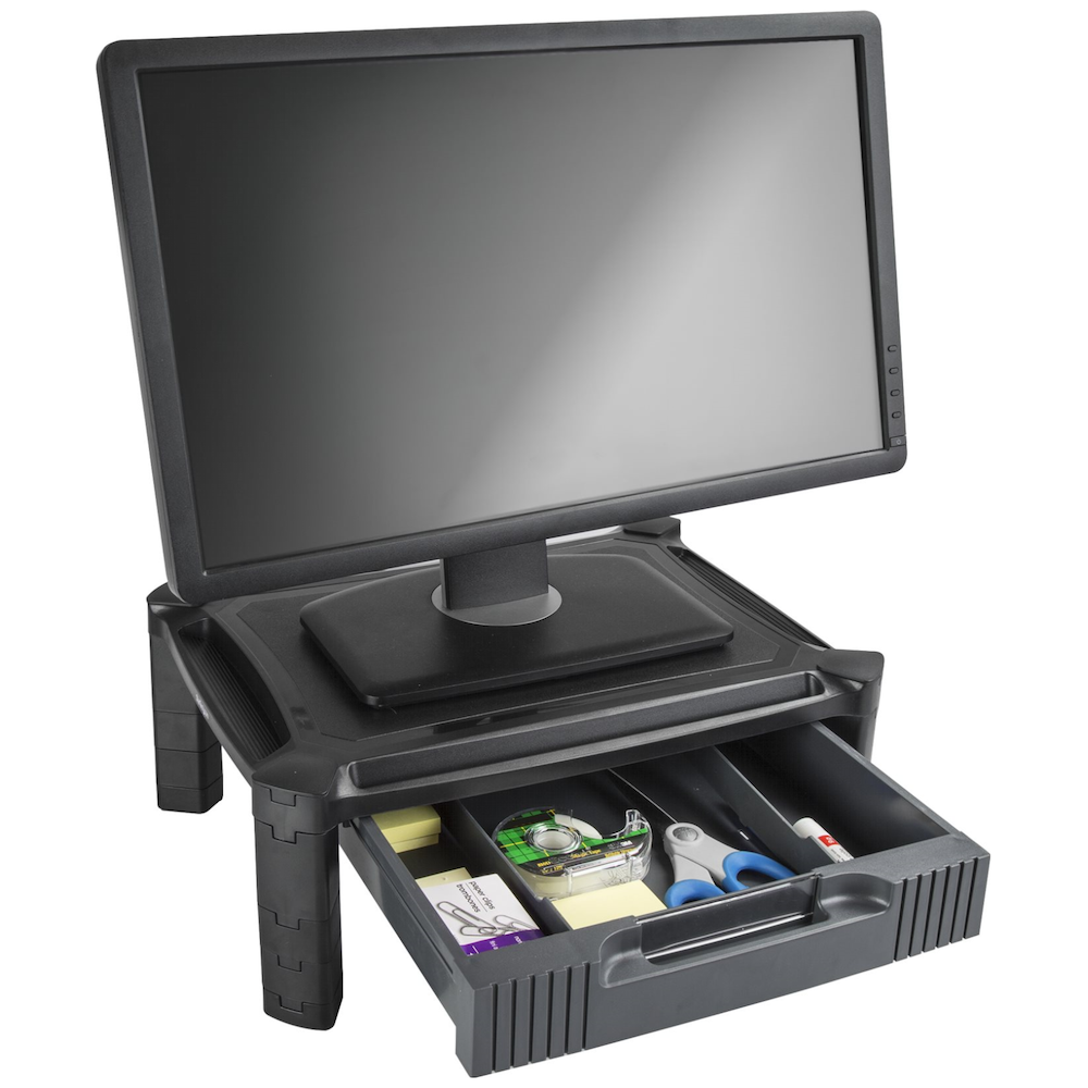 A large main feature product image of Startech Computer Monitor Riser Stand with Drawer - Height Adjustable
