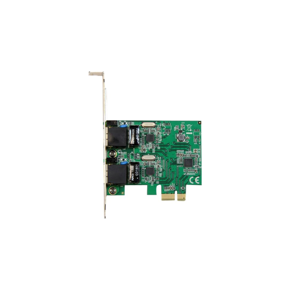 A large main feature product image of Startech PCIe 2 Port Gigabit Ethernet Network Card