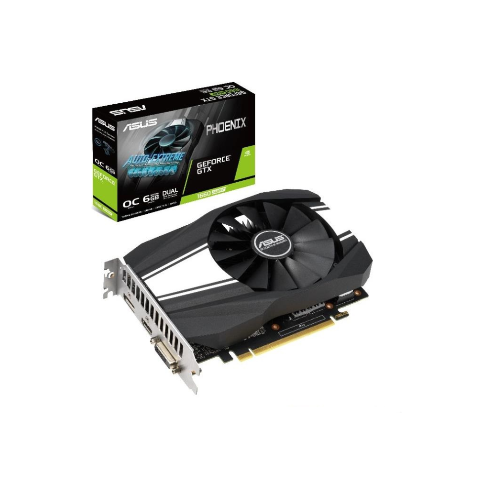 A large main feature product image of ASUS GeForce GTX1660 Super Phoenix OC 6GB GDDR6
