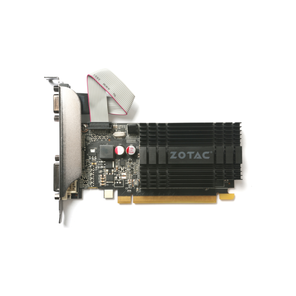 A large main feature product image of ZOTAC Geforce GT710 1GB GDDR3