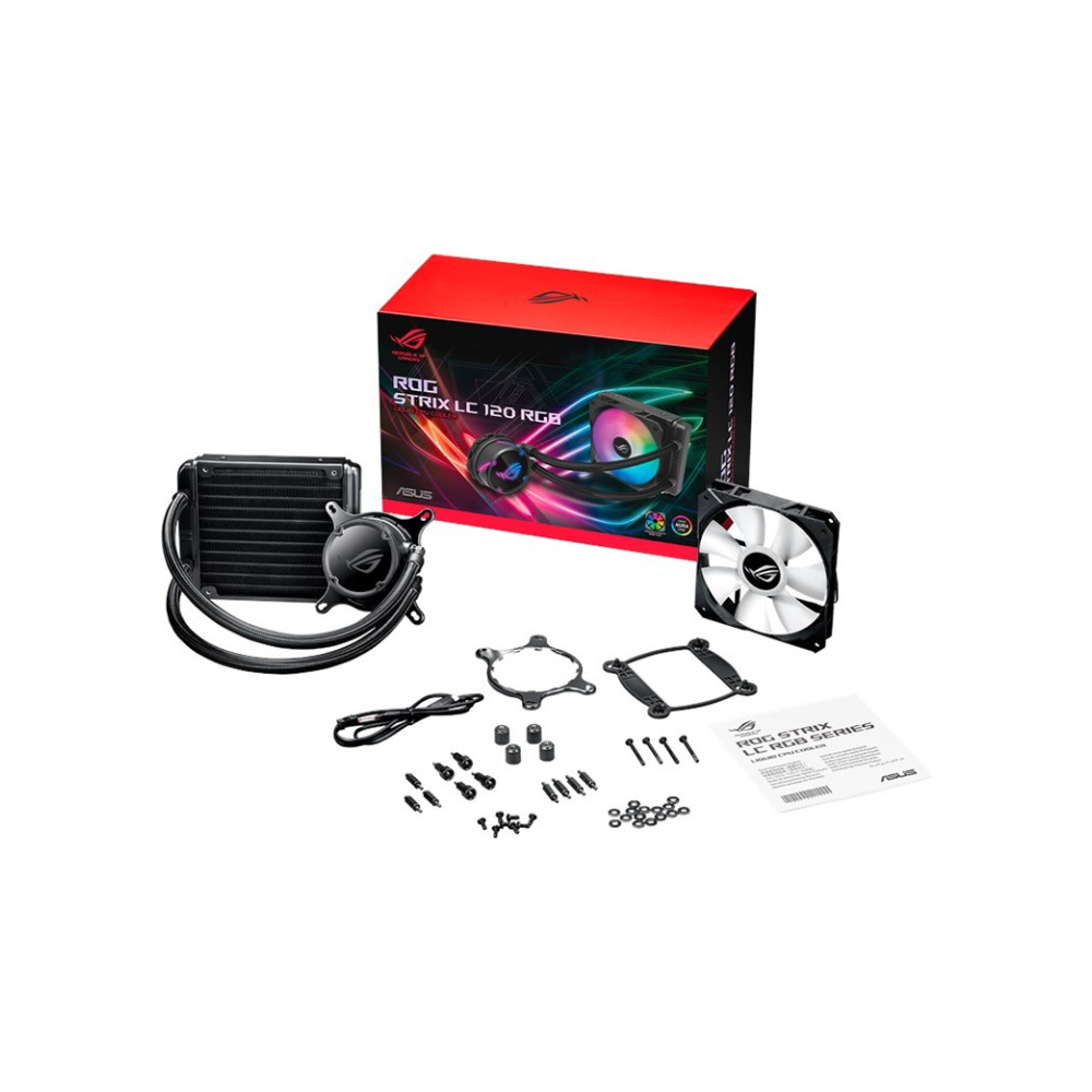 A large main feature product image of ASUS ROG Strix LC 120mm RGB AIO Liquid Cooler