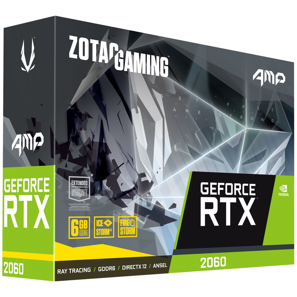 A large main feature product image of ZOTAC GAMING Geforce RTX2060 AMP 6GB GDDR6