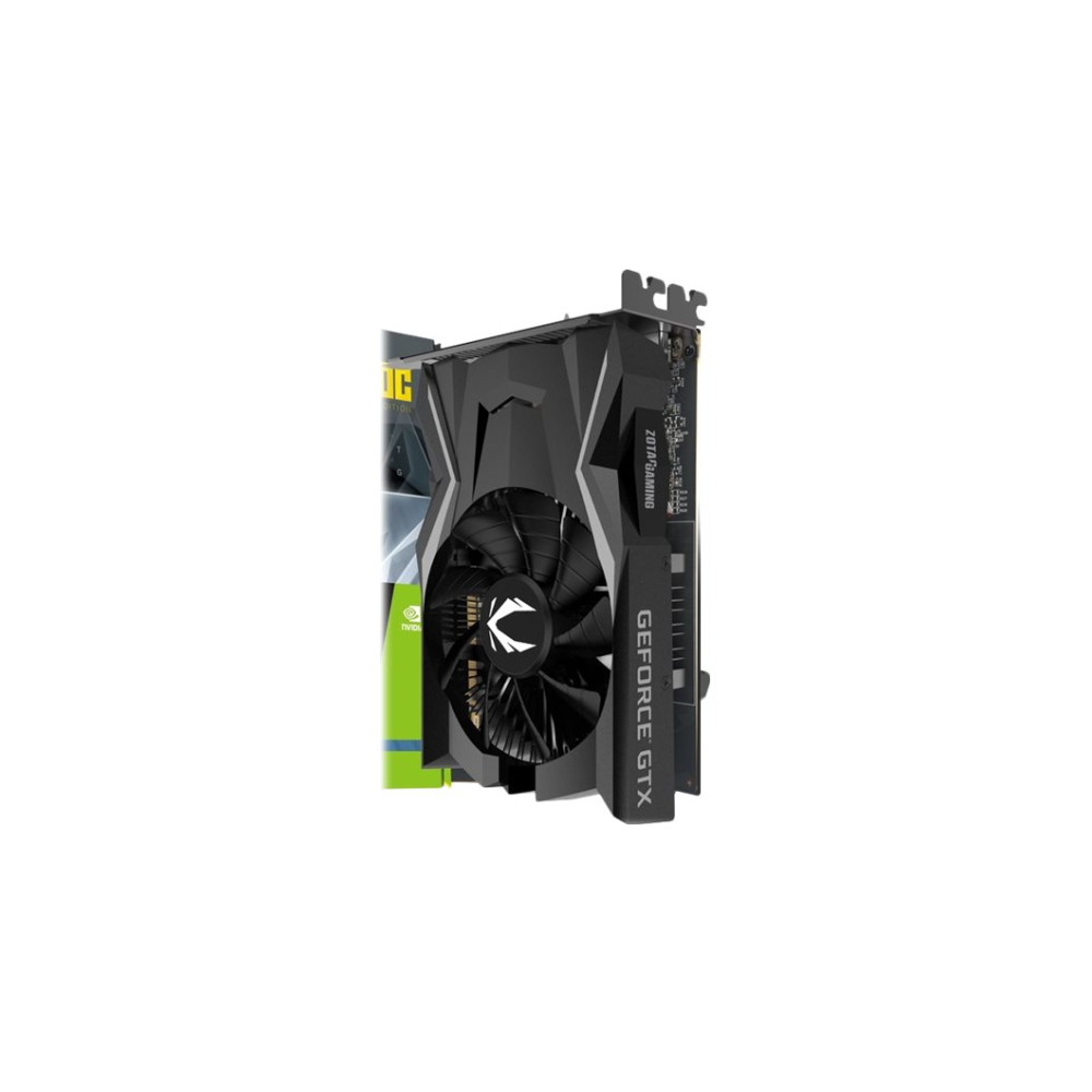 A large main feature product image of ZOTAC GAMING GeForce GTX1650 OC 4GB GDDR5