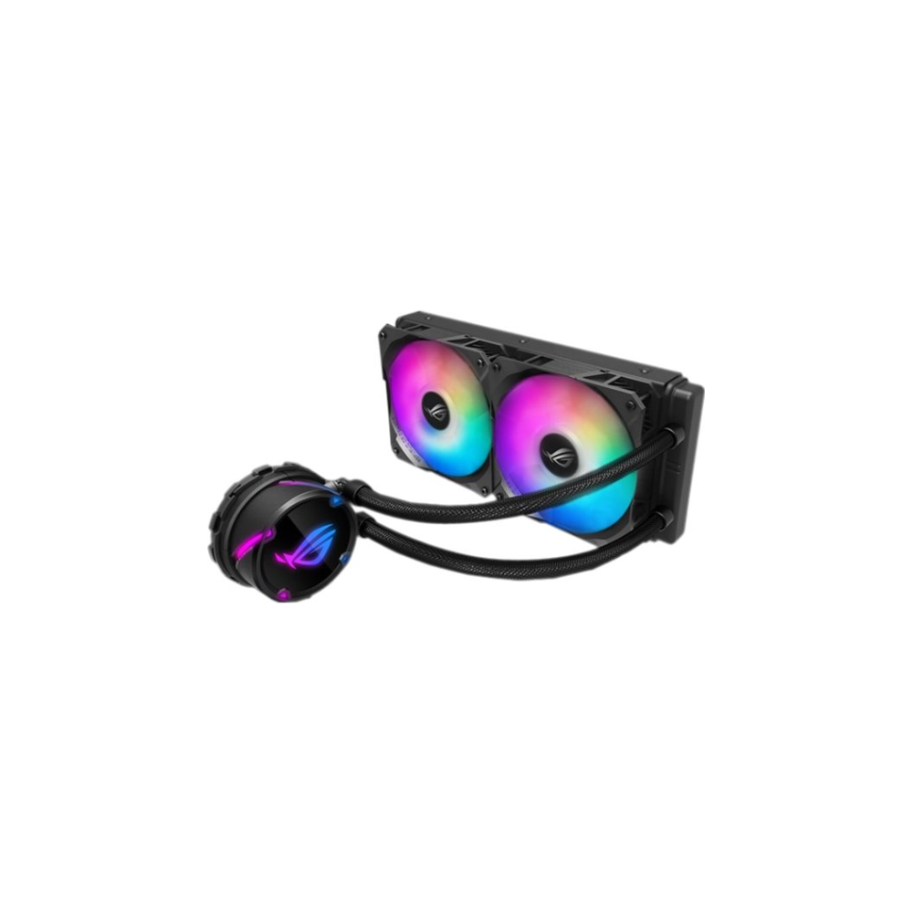A large main feature product image of ASUS ROG Strix LC 240mm RGB AIO Liquid Cooler