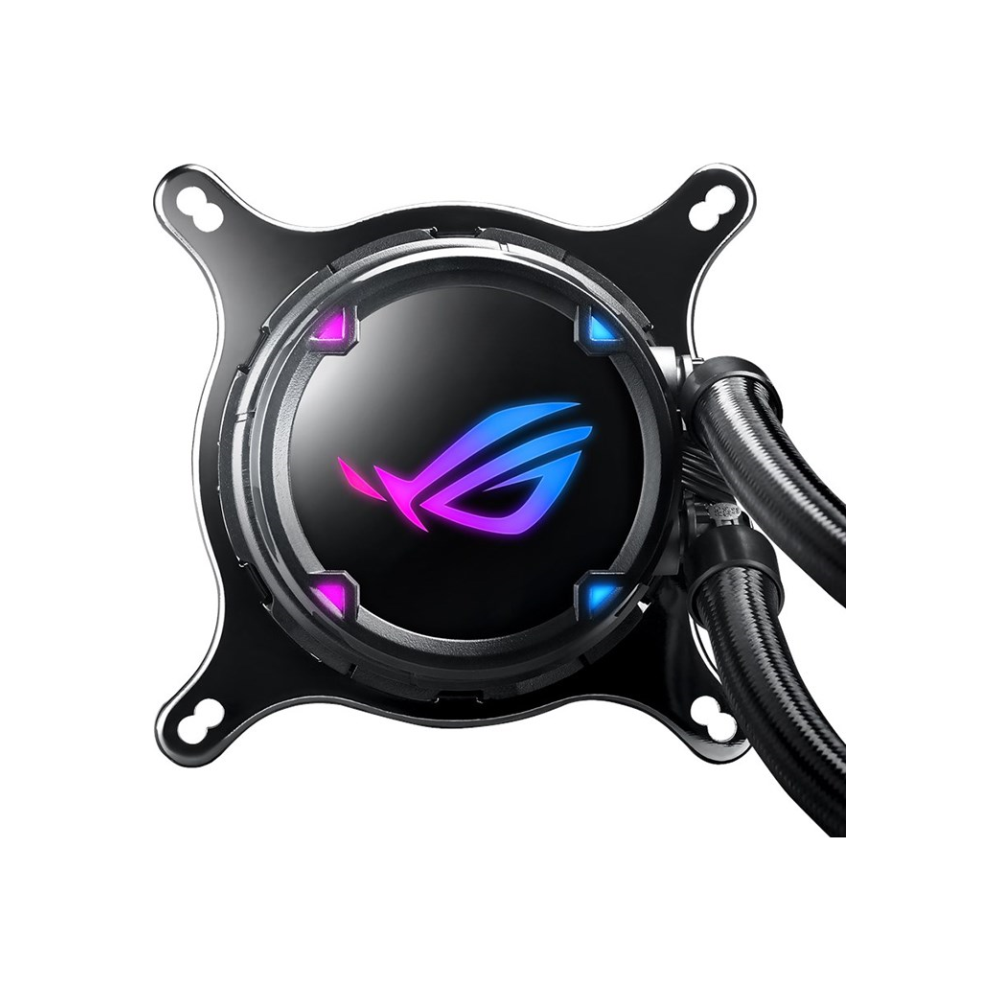 A large main feature product image of ASUS ROG Strix LC 360mm AIO Liquid Cooler