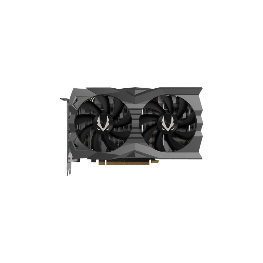 A large main feature product image of ZOTAC GAMING GeForce GTX1660 Super AMP 6GB GDDR6