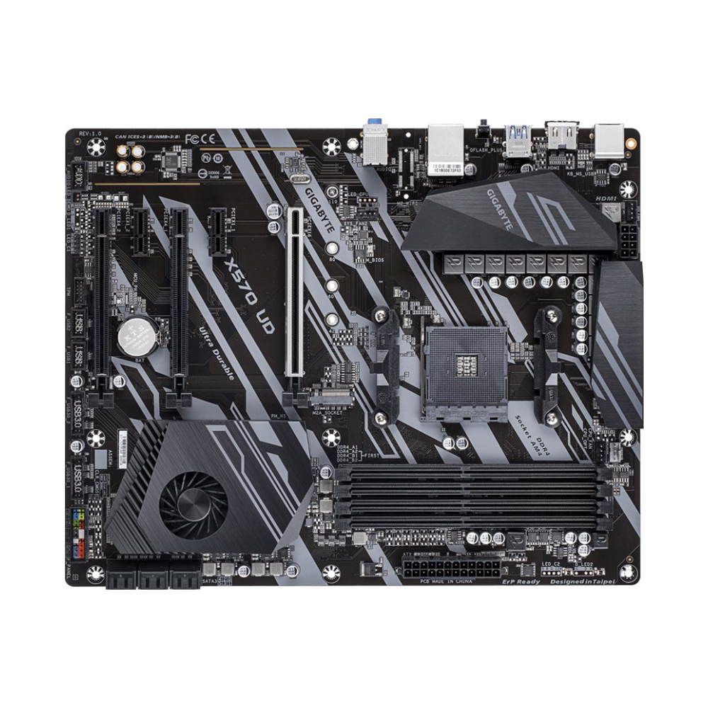 A large main feature product image of Gigabyte X570 UD AM4 ATX Desktop Motherboard