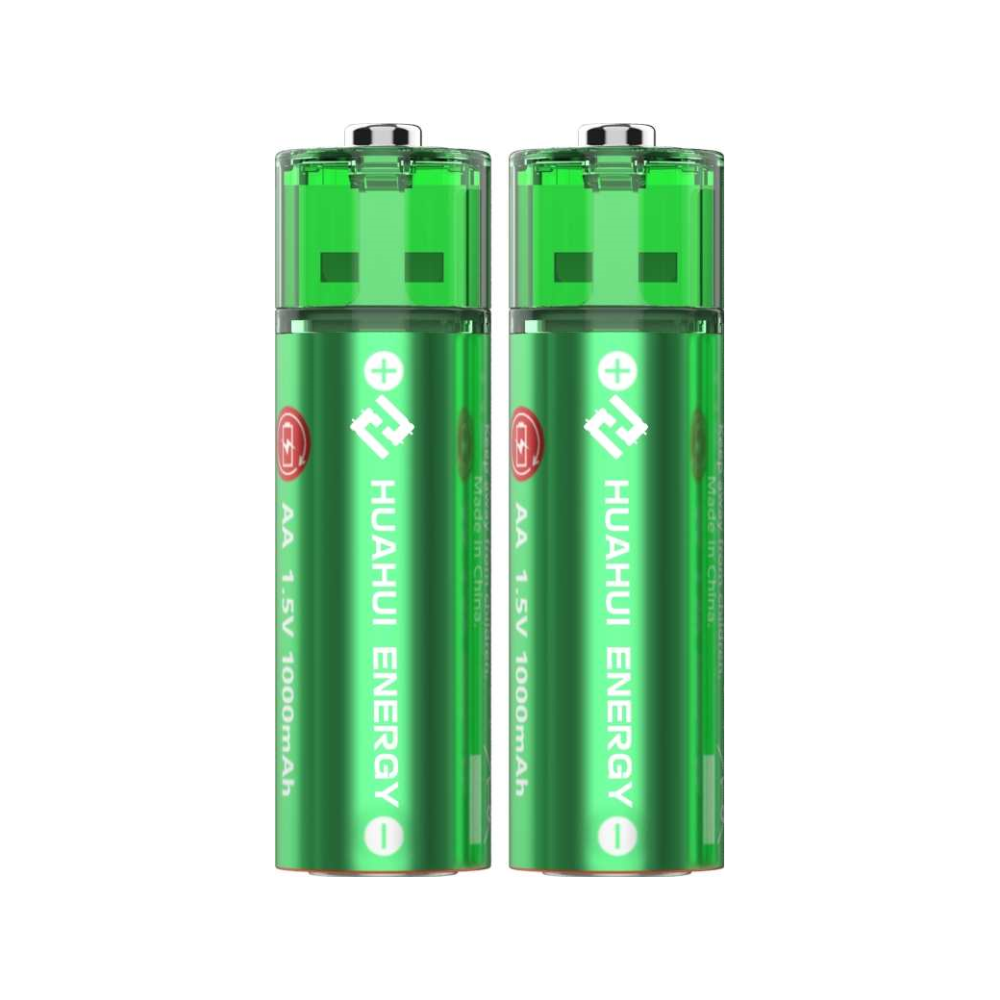 A large main feature product image of HUAHUI Two AA USB Rechargeable Lithium 1500mWh Battery Pack