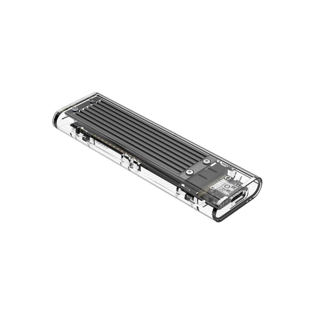 A large main feature product image of ORICO M.2 NVMe Type-C USB 3.1 SSD Enclosure - Clear