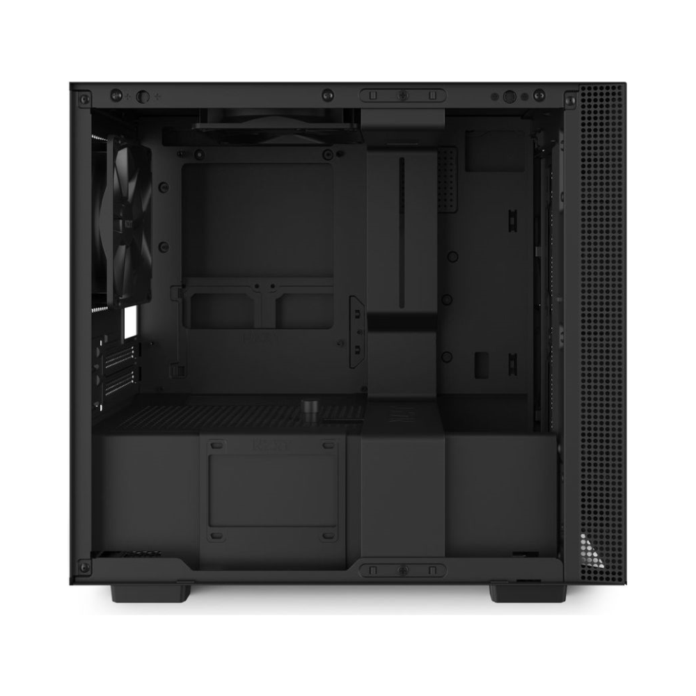 A large main feature product image of NZXT H210i Matte Black Smart mITX Case w/ Side Panel Window